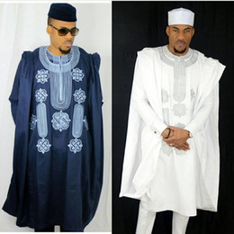 Vêtements africains de broderie en Ligne-afrique hommes dashiki bazin riches costumes tops shirt pant 3 pièces broderie marine bleu noir noir africain vêtements pour hommes robe