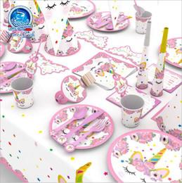 rolos de carpete por atacado Desconto 90 pçs / set unicórnio festa kits unicórnio aniversário headband copos de papel / pratos / guardanapo decorações de aniversário crianças fontes do partido do chuveiro de bebê
