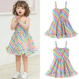 vestidos de rayas de arco iris Rebajas Bebé raya del arco iris alineada del punto de partido lindo moda al aire libre ropa de los niños falda de las muchachas del verano honda Playa Vestidos T-TA688