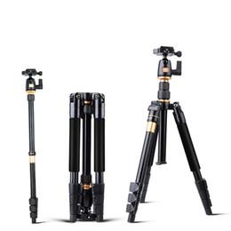 Trípodes de aluminio online-Trípode de cámara Aleación de aluminio Cámara de vídeo Monopod Trípode extensible profesional con soporte de placa de liberación rápida TOP