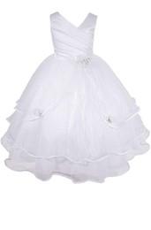 Fleur fille blanche communion concours de pâques mariage formelle occasion robe robe de princesse ? partir de fabricateur