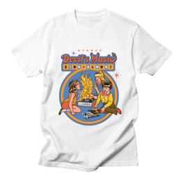 chemises de dauphin top Promotion Lets Summon Demons Zombie T-shirt Vêtements Hommes Funny Cartoon Dolphin Devil's Music Chantez Tee-shirt À Manches Courtes En Coton Blanc