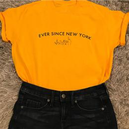 Punky flojo t shirt online-Desde entonces Nueva York Camiseta inspirada por Harry Styles Camisa con gráfico de algodón Harajuku Camiseta amarilla Júnior Punk Tops Hip Hop suelto Y19051104