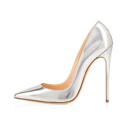 2019 zapatos de noche de talla grande 2019 moda caliente mujer plata charol puntiagudo vestido de noche bombas tacones altos Ladies Party Shoes Plus Size rebajas zapatos de noche de talla grande