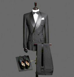 graue hochzeitsanzüge rote krawatte Rabatt Herren Zweireiher Hochzeit Bräutigam Smoking Prom Formal Dinner Schal Revers Anzüge Mantel Groomsmen Herren Jacke Weste Hosen