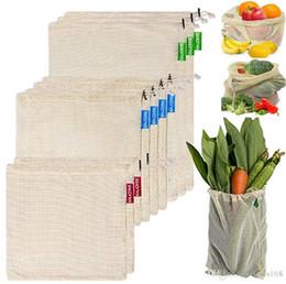 3 unids / set Reutilizable Malla de Algodón Comestibles de Compras Bolsas de Productos Vegetales Fruta Fresca Bolsos de Mano Bolsas de Almacenamiento En Casa Bolsa de lazo HH7-1925 desde fabricantes