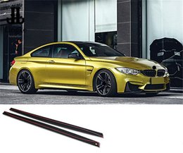 2019 spoiler de carbono bmw Para BMW F80 M3 F82 F83 M4 Saia De Fibra De Carbono Extensão Lateral Spoiler Lip MP Estilo Tiras Porta Moldagem 2015 2016 2017 desconto spoiler de carbono bmw