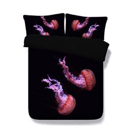 Copriletti stampati animali online-Medusa 3D Animal Copripiumino Set 3 pezzi Set biancheria da letto con 2 guanciali Fodera Galaxy copriletto marino tema marino creativo