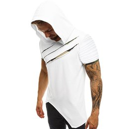 off white tee Promo Codes - 2019 Fashion Irregular Rip-Off T Shirt Men Summer Hooded Sling Short-Sleeve Tee Male T-Shirt Slim Male Tops Camisa Masculina