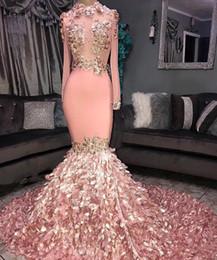 2019 3d kunstbilder Real Images Wunderschöne Rosa Cascading 3D Blumen Prom Kleider Sheer Long Sleeves Applique High Neck Abendkleider Custom Made BC1046 günstig 3d kunstbilder