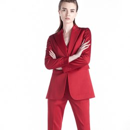 Красные дамские блейзеры онлайн-Women's Office Lady Two Pieces Sets Solid Red Elegant Single Breasted Turn-down Collar Blazers And Full Length Trousers