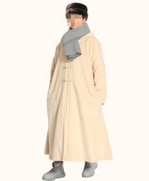 Abiti di lana online-5 colori unisex inverno caldo monaco buddista vestito kung fu arti marziali robe cappotto di lana laici meditazione mantello mantello beige / grigio / blu