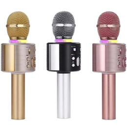 micrófono profesional cantando Rebajas V6 Profesional Bluetooth Micrófono inalámbrico Altavoz Micrófono de mano Micrófono de karaoke Reproductor de música Cantante Grabadora KTV Micrófono