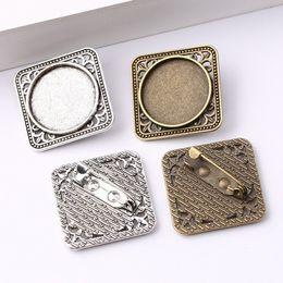 2019 broches vierges cabochon broche broches réglages paramètres argent antique bronze antique 20mm dia blanc lunettes métalliques pour broches faisant des accessoires de bricolage broches vierges pas cher