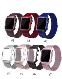 Caja de reloj de cobertura total con banda magnética de metal, negro, plata, rojo y rosa con bolso de Opp para Apple Watch 38mm 40mm 42mm 44mm 20pcs desde fabricantes