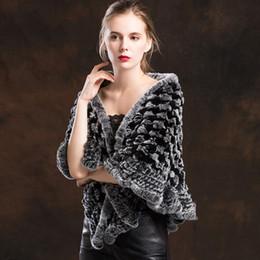 2019 verdadeiros ponchos de peles Contraste cor knit natural rex fur xale poncho moda fur jacket mulheres 2018 novo estilo real casacos desconto verdadeiros ponchos de peles