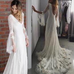 treno vestito da dea Sconti Romantico Bohemian Wedding Dresses Full Lace Deep scollo a V manica lunga Backless Chapel Train dea greca sirena abito da sposa Novia