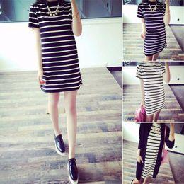 Sexy vestido de fiesta salvaje online-Vestidos largos Camiseta Vestidos de fiesta Sexy Rayas Salvajes Camisas Femininas Ropa Coreana Tumblr Vetement Vestido de Mujer