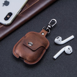 Borsa per iphone mini online-Borse di design Custodia protettiva per IPhone Airpods IPhone 7 8 X Cuffie senza fili Custodia protettiva anti-caduta in vera pelle