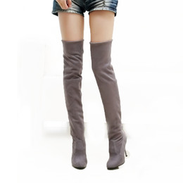 a44fe5850f41f Hot sale fashion long boots for women Nubuck Leather sexy Stovepipe long  boots Over the Knee high heels women boots size 34-43
