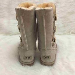 Sıcak SATıŞ Avustralya Stil Kadın Kar Botları 3-Buttons Dekorasyon 100% Hakiki Inek Derisi Deri Çizmeler Marka IVG tasarımcı ayakkabı Artı Boyutu US3-13 cheap boots decorations nereden çizmeler dekorasyonlar tedarikçiler