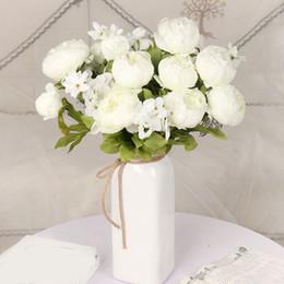 Buquês de flores de seda em massa on-line-13 Cabeças de Peônia De Seda Artificial Flor Artesanato Em Massa Flores Falsas Buquê De Casamento Partido Home Room Decoração de Alta Qualidade