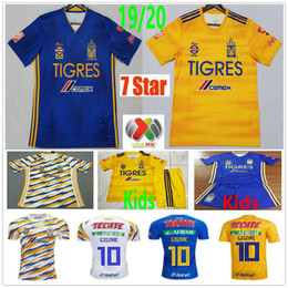 tigres uanl chemises Promotion 2019 2020 MX League Football Club 7 Étoiles Tigres UANL Maillots De Football GIGNAC GUERRON SOBIS DUENAS Personnalisé Adulte Enfants Femme Maillot De Football