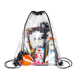 Школьная сумка с рюкзаком онлайн-New Transparent Drawstring Backpack Cinch Sack School Tote Gym Bag Sport Pack