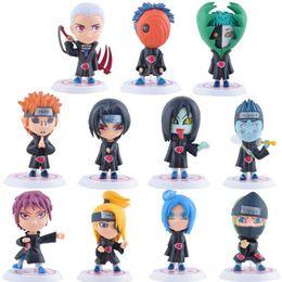 decorazioni naruto Sconti Naruto Q Edition Anime Action Figures Giocattoli del fumetto Collezione PVC modello Desktop Decoration 11pcs / set MMA1486 50lot