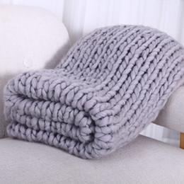 amo cobertor rosa Desconto Mão Chunky Lã De Malha Cobertor Fio Grosso Lã Merino Tricô Tricô Cobertores 200X200 CM Nórdico Casa Têxtil DropShipping D19010902