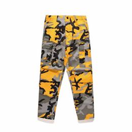 Rosa calças homens on-line-Calças Jeans Mens Laranja Rosa Camouflage Carga Homens Mulheres Hip Hop Streetwear Joggers Calças Sweatpants calças de brim