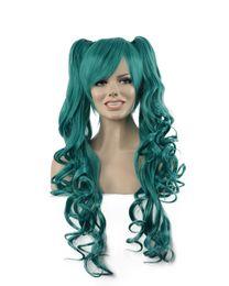 Canada Femmes Longue Lumière Bleu Double Ponytails Oblique Bangs Cheveux Bouclés Kanekalon Résistant À La Chaleur Cosplay Partie Cheveux Perruques Complètes Offre