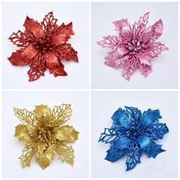 Pequenas decorações plásticas de árvore de natal on-line-Glitter Em Pó Pequena Simulação Flores Plásticos Oco Flor de Natal Pingentes Para Festa Decoração de Árvore 11 cm 6 Cores 1 18wy E1