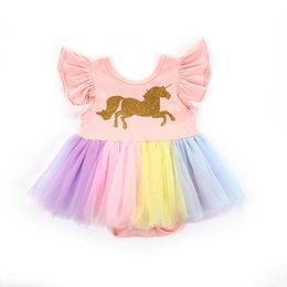 2c5584d4fd20 Baby Girl dress Mesh Princess Party Newborn Baby Clothes Girls clothes Kids  Rainbow Unicorn Tutu Dress for 0-18 month