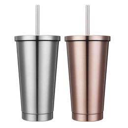 Пивные кружки онлайн-500ml Stainless Steel Insulated Travel Coffee Mug Tumbler Sweat Free Tea Beer Juice Cup Flask Water Drinking Bottle With Straw
