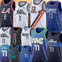 Nuova pallacanestro jersey online-NCAA Kawhi 2 Leonard Paul 13 George Jersey College di Luka 77 Doncic Jersey New Mens ricamo del pullover di pallacanestro il formato S-XXL