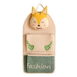 обертывания для мобильных телефонов Скидка Fox Cat Pattern висит сумка за дверью мобильного телефона двойной карман мультфильм Wrap хлопок и лен прекрасный 20hd C1