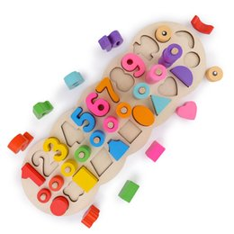 Brinquedos correspondentes para crianças on-line-Montessori De Madeira Materiais de Aprendizagem Para Contar Números de Correspondência de Forma Digital Jogo Educação Infantil Ensino Matemática Brinquedos Crianças J190427