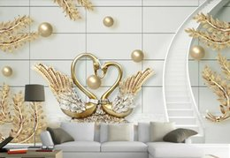 gold wallpaper for bedroom Coupons - 3D Custom Modern Photo Wallpaper Mural Painting Swan gold jewelry spiral staircase For Living Room Bedroom TV Background Home Decor Paper