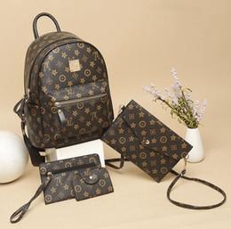 очень большой кожаный рюкзак Скидка Самый горячий бренд дамы мода печати рюкзак Европейский и американский классический ретро путешествия рюкзак купить один получить три лучших стоимость бесплатная доставка