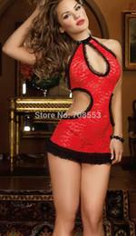 Argentina lencería sexy encaje rojo un hombro agujero encanto completo vestido de noche vestido, conjunto de cuerdas g Suministro