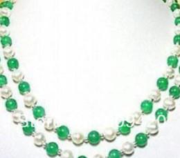 """Weiße perle grüne jade halskette online-Halskette XF423 JU71 geben WholesalePretty frei! 7-8MM White Pearl Green Jade Necklace 17-18 """""""