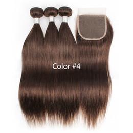 Шелковистые прямые виргинские бразильские волосы онлайн-3 пучка с кружевной застежкой цвета 2 4 темно-коричневые шелковистые прямые пучки волос