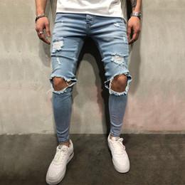 рваные джинсы корейские мужчины Скидка High quality stretch men Knee Ripped Skinny jeans urban clothing punk korean blue black denim designer distressed Joggers Pants