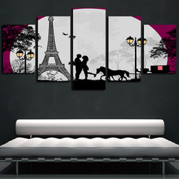 pannelli a torre eiffel Sconti 5 pannelli Parigi Torre Eiffel Luna Opere giclée su tela di arte della parete astratta Poster HD Tela stampa pittura a olio della decorazione della parete