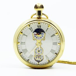 Numerais romanos antigos do relógio de bolso on-line-Top Marca de Venda AntiqueVintage Completa de Ouro Romanos Algarismos Mecânicos Pocket Watch para Homens Mulheres Branco Dial PJX1251