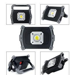 Batería led luces de trabajo online-20W Impermeable COB Luz de trabajo Led Lámpara de mano 18650 Batería recargable Luz de inundación Led Camping Lantern 3 modos Carga USB