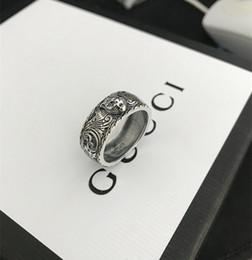 Tigerband online-Vintage 925 sterling silber gg ringe 3d schwarz tigerkopf einzigartige tier ring für mann frauen biker punk schmuck marke liebhaber geschenk luxus