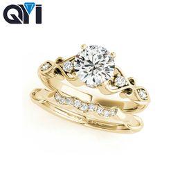 2019 anillos de boda de diamantes amarillo conjuntos QYI 10K Solitario Conjuntos de anillos de compromiso de corte redondo 1ct Sona joyería de diamantes simulados para las mujeres 10 K sólido oro amarillo anillo de bodas anillos de boda de diamantes amarillo conjuntos baratos