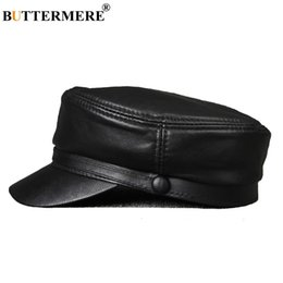 Sombreros militares negros para hombres online-Buttermere Leather Military Caps For Men Negro Casual Gorras planas Army Women Genuine Leather Vintage Winter Winter Military Hats Y19070503